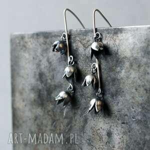 srebrne kolczyki wiszące konwalie, drobne kwiatki, dzwonki