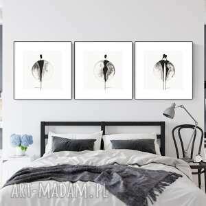 zestaw 3 grafik 30x30 cm wykonanych ręcznie, abstrakcja, obraz do salonu