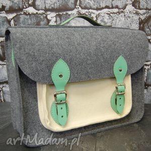 filcowa torba na laptopa z przegrodą 15 cali skórzane elementy, handmade, polska, ona