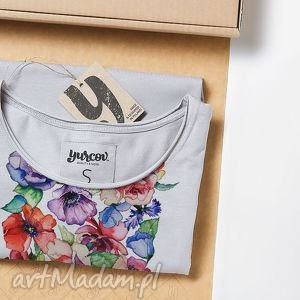 FLOWERS luźna prosta koszulka, tshirt, kwiaty, nadruk