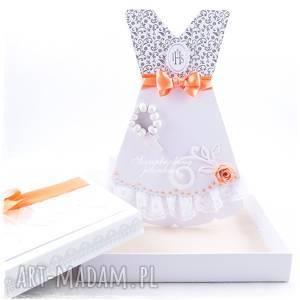 sukienka komunijna 2 - kartka w pudełku komunia, koronka, ihs, pudełko