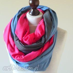 ręcznie robione szaliki eko szal bawełniy niebiesko-szaro-różowy