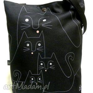torba na napę z kotami, koty, torba, pojemna