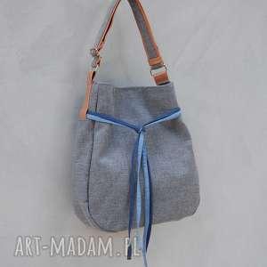 hand made na ramię simply bag - duza torba worek - szara plecionka