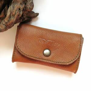 handmade portfele portmonetka skórzana mini z zatrzaskiem brązowa