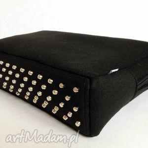 Cityfelt - torebka neseser, torba na laptop czerń totostyle filc