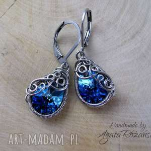 kolczyki swarovski mini pear bermuda blue, wire wrapping - kolczyki, wire wrapping, stal