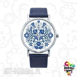 Zegarek z grafiką MODRY, folk, etniczne, kujawy, kujawska, ludowe, wycinanka