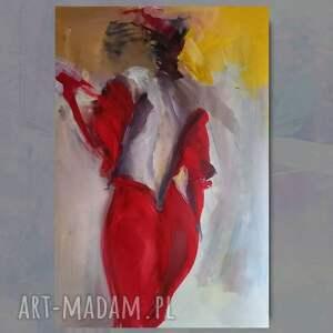red 100x70cm, obraz do salonu, duże obrazy, grafika postać kobiety, duża