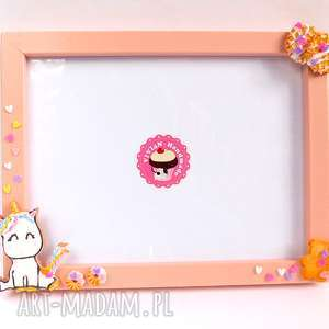różowa ramka z jednorożcem, modelina, fimo, jednorożec, słodka ramka