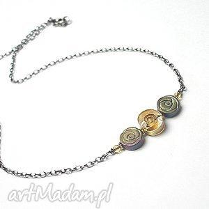 Roses - naszyjnik, srebro, pozłacane, hematyty, róże