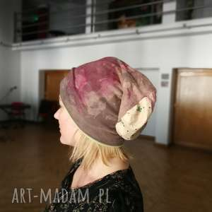 czapka damska dzianinowa farbowana ręcznie handmade, czapka, dzianina, etno, sportowa