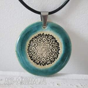 etno naszyjnik turkusowy - etniczny, wzór, ceramiczny, naszyjnik