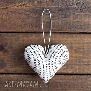 myk studio serce białe w czarne kreski / walentynki, ślub, serce, upominek ślubny