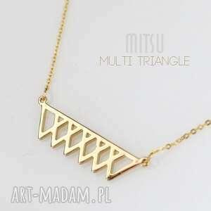 prezent na święta, naszyjnik multi triangle, minimalizm, geometryczny, nowoczesny