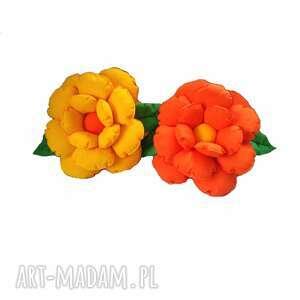Poduszki ozdobne kwiaty żółć i pomarańcz komplet molicka poduch
