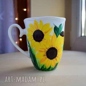 kubek słoneczniki ręcznie malowany, dla niej, kobiety, mamy