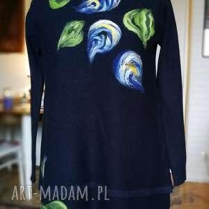 sukienki granatowy sweter tunika sukienka z kwiatami, sukienka, tunika