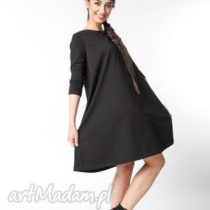 s m sukienka typu klosz wiosenna czarna, bawełna, dzianina, wiosna, eko, luźna