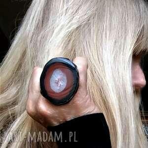 pierścień koneserski piękny agat gigant brazylijski w niezwykłym pierścieniu