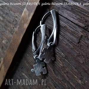 Mini puzzle kolczyki ze srebra szarotka srebro, oksydowane,
