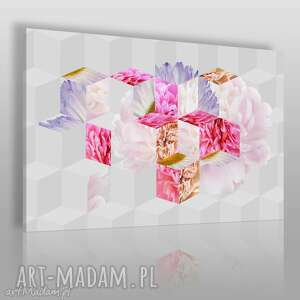 handmade obrazy obraz na płótnie - kwiaty abstrakcja geometria - 120x80 cm (33901)