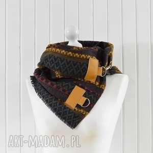ręcznie wykonane szaliki szal, chusta, ponczo, komin w azteckie wzory