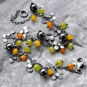 bransoletki kolorowe jadeity i hematyt- srebrna bransoletka, jadeity, hematyt, srebro