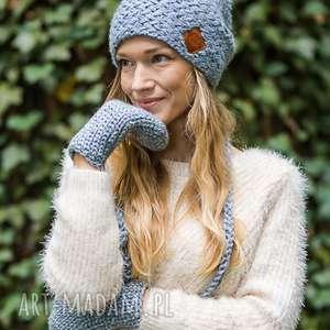czapki explorer szarość poranka, jesień, zima, czapka, ocieplana, włóczka