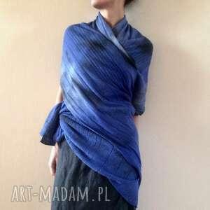 szal wełniany w niebieskościach z kapka szarości, szal, szalik