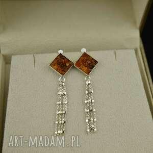 geometryczne sztyfty bursztyn w srebrze, kolczyki z bursztynem, długie