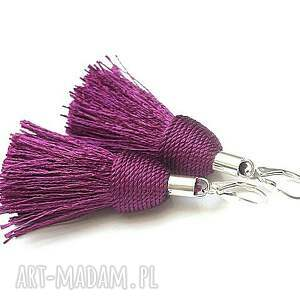 Purple /boho/ - kolczyki , srebro, chwosty, boho