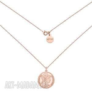 medalion z różowego złota z dużą - łańcuszek