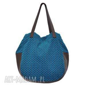 na ramię 24-0011 niebieska torebka damska worek torba studia swallow, duże