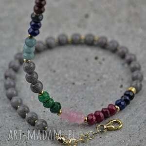 naszyjnik multicolor z jadeitami, kamieniami, kolorowy