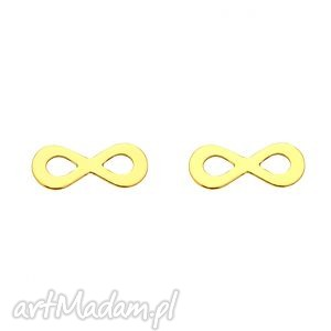 złote kolczyki nieskończoności, kolczyki, sztyfty, nieskończoność