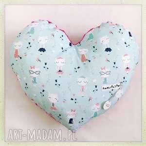 poduszka serce koty - koty, mieta, serce
