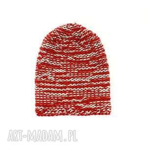 gruba czapka unisex melanżowa zrobiona na drutach - czapka-unisex