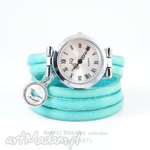 ręcznie zrobione bransoletka, zegarek - turkusowy ptaszek turkusowy, skóra
