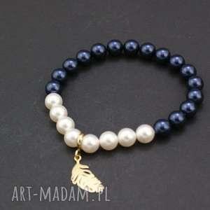 bransoletka perły swarovski z piórkiem, bransoletka, perełki, swarovski, srebro