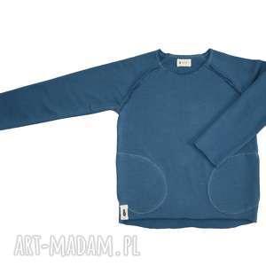 bluza basic niebieska, bluza, bawełna, delikatna, kieszenie, dresowa