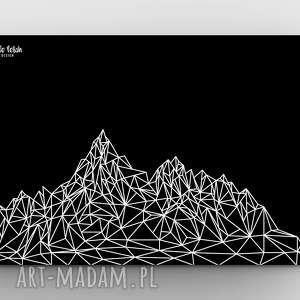 Góry BLACK A3, dom, grafika, las, góry, górki, plakat