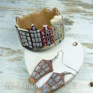 biżuteria amsteram, domki, fimo, amsterdam, holandia, kolczyki, bransoletka