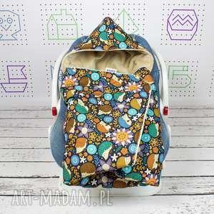 handmade dla dziecka kocyk do nosidła samochodowego jeże