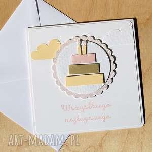 Kartka urodzinowa dla dziewczynki, tort, pastelowe, urodzinki, roczek, dziewczynka,