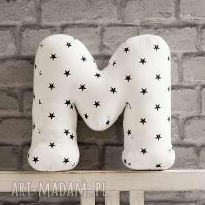 Literka M trójwymiarowa w gwiazdki , litera, gwiazdki, spersonalizowana, poducha