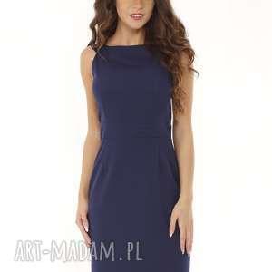 Dopasowana sukienka odcięta w pasie granatowa, elegancka-sukienka, sukienka-tuba