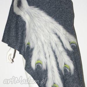 filcowany szal wełna zdobiony - prezent, filcowanie, pawie, pióra, wełna