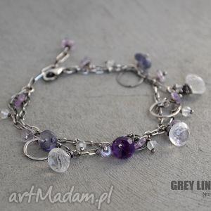 wiosenna bransoletka w fioletach, srebro, minerały, ametyst, iolit, kryształ