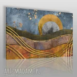 obraz na płótnie - abstrakcja złoto 120x80 cm 64501, pejzaż, błyskotliwy, noc